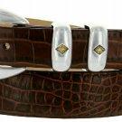"Tuscon Gold Italian Calfskin Leather Designer Dress Golf Belt 1-1/8"" Wide Size 42 Alligator Brown"