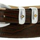 "Tuscon Gold Italian Calfskin Leather Designer Dress Golf Belt 1-1/8"" Wide Size 50 Lizard Brown"
