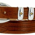 "Tuscon Gold Italian Calfskin Leather Designer Dress Golf Belt 1-1/8"" Wide Size 44 Lizard Tan"