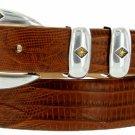 "Tuscon Gold Italian Calfskin Leather Designer Dress Golf Belt 1-1/8"" Wide Size 48 Lizard Tan"