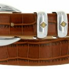 "Tuscon Gold Italian Calfskin Leather Designer Dress Golf Belt 1-1/8"" Wide Size 32 Alligator Tan"