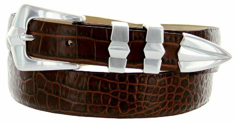 Art Deco - Genuine Leather Italian Calfskin Designer Dress Belt, 1-1/8 to 1 Wide Size 34 Alligator B