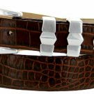 Art Deco - Genuine Leather Italian Calfskin Designer Dress Belt, 1-1/8 to 1 Wide Size 48 Alligator B