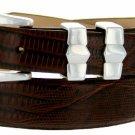 Art Deco - Genuine Leather Italian Calfskin Designer Dress Belt, 1-1/8 to 1 Wide Size 38 Lizard Brow