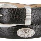 Golf Club - Italian Calfskin Genuine Leather Golf Conchos Designer Dress Belt Size 52 Alligator Blac