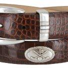 Golf Club - Italian Calfskin Genuine Leather Golf Conchos Designer Dress Belt Size 48 Alligator Brow