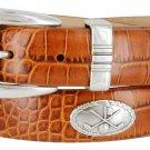 Golf Club - Italian Calfskin Genuine Leather Golf Conchos Designer Dress Belt Size 52 Alligator Tan