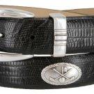Golf Club - Italian Calfskin Genuine Leather Golf Conchos Designer Dress Belt Size 34 Lizard Black