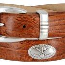 Golf Club - Italian Calfskin Genuine Leather Golf Conchos Designer Dress Belt Size 38 Lizard Tan