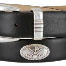 Golf Club - Italian Calfskin Genuine Leather Golf Conchos Designer Dress Belt Size 40 Smooth Black