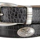 Golf Club - Italian Calfskin Genuine Leather Golf Conchos Designer Dress Belt Size 48 Alligator Char