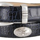 Golf Club - Italian Calfskin Genuine Leather Golf Conchos Designer Dress Belt Size 38 Alligator Navy
