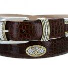 "Golf Classic - Italian Calfskin Genuine Leather with Conchos Golf Belt, 1-1/8"" Size 34 Alligator Bro"