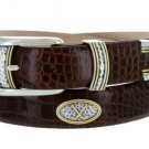 "Golf Classic - Italian Calfskin Genuine Leather with Conchos Golf Belt, 1-1/8"" Size 40 Alligator Bro"