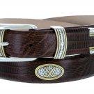 "Golf Classic - Italian Calfskin Genuine Leather with Conchos Golf Belt, 1-1/8"" Size 50 Lizard Brown"