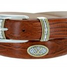"Golf Classic - Italian Calfskin Genuine Leather with Conchos Golf Belt, 1-1/8"" Size 42 Lizard Tan"