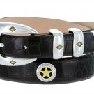 "Presidential Gold Star - Mens Italian Calfskin Designer Dress Belt, 1-1/8"" Wide Size 32 Alligator Bl"