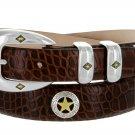 "Presidential Gold Star - Mens Italian Calfskin Designer Dress Belt, 1-1/8"" Wide Size 50 Alligator Br"