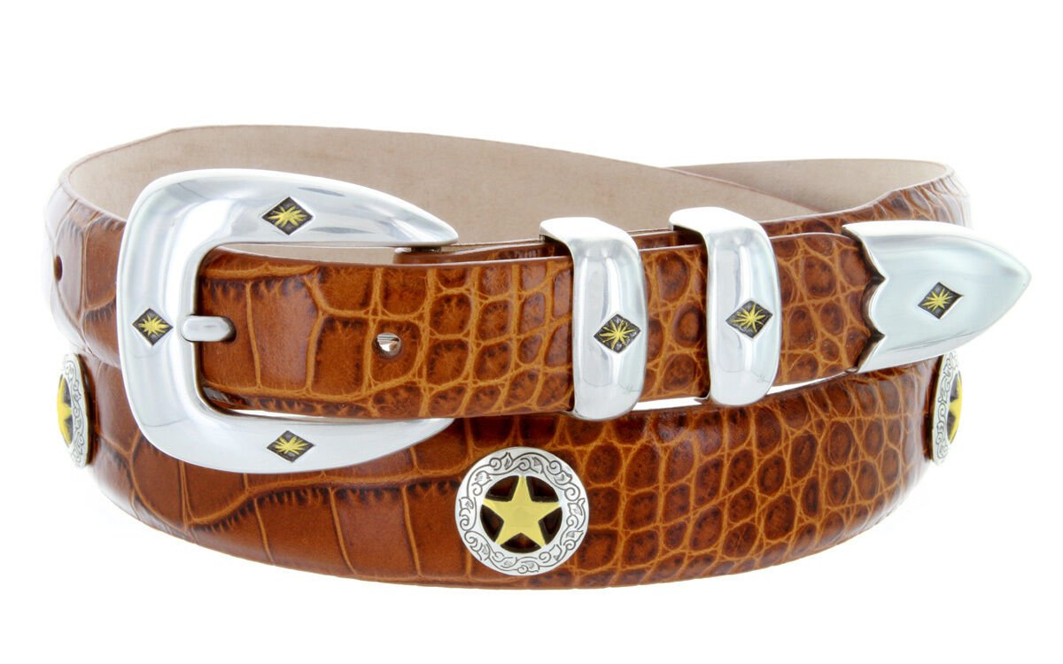 "Presidential Gold Star - Mens Italian Calfskin Designer Dress Belt, 1-1/8"" Wide Size 32 Alligator Ta"