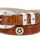 "Presidential Gold Star - Mens Italian Calfskin Designer Dress Belt, 1-1/8"" Wide Size 42 Alligator Ta"