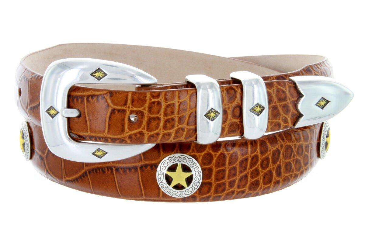 "Presidential Gold Star - Mens Italian Calfskin Designer Dress Belt, 1-1/8"" Wide Size 52 Alligator Ta"