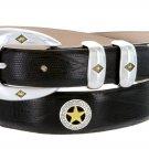 "Presidential Gold Star - Mens Italian Calfskin Designer Dress Belt, 1-1/8"" Wide Size 32 Lizard Black"