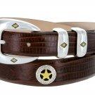 """Presidential Gold Star - Mens Italian Calfskin Designer Dress Belt, 1-1/8"""" Wide Size 54 Lizard Brown"""