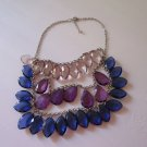 Classic Silver color Necklace with blue purple crystal pendants