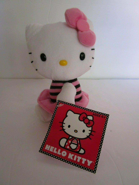 "Jakks Pacific HELLO KITTY PINK Stripe Dress  Original  5.5"" Pink Bow"
