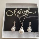Mariell Ivory Pearl drop Necklace set with vintage silver plated Wedding
