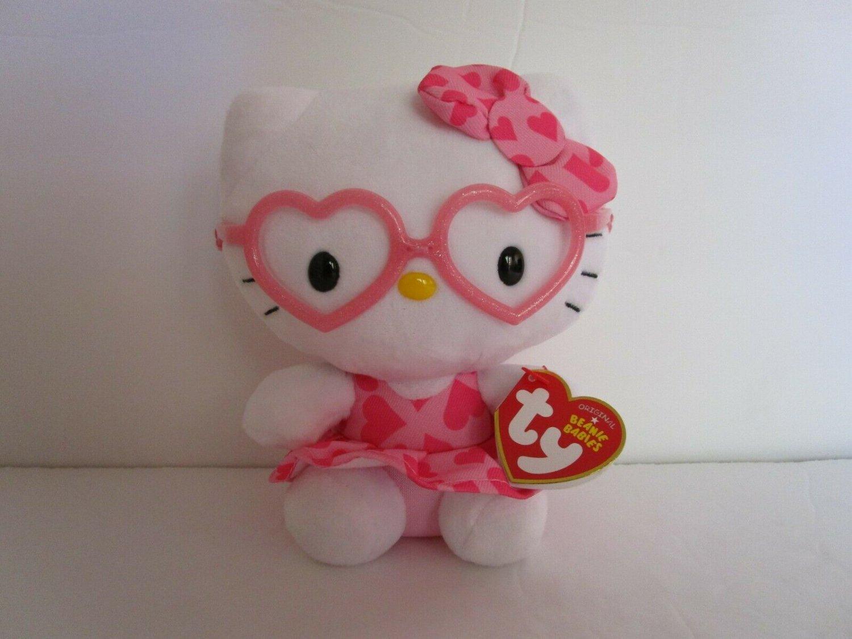 "TY Beanie Babies HELLO KITTY PINK GLASSES Original  6.5"""