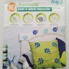 Delta disposable peel & stick stencils WILD FLOWER #930090505 pack of 10