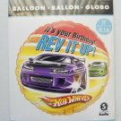 Hallmark Hot Wheels  IT'S YOUR BIRTHDAY REV IT UP! foil Helium  Balloon 18""