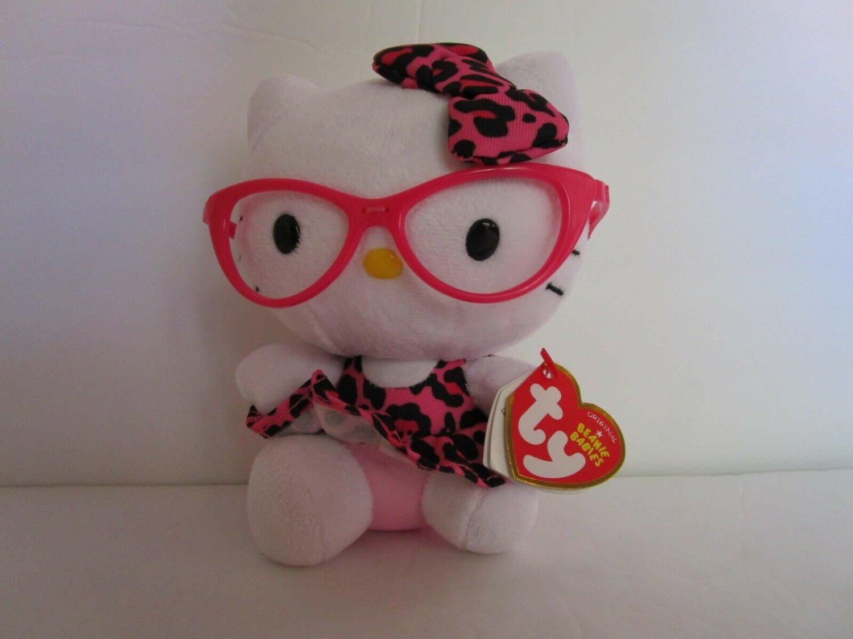 "TY Beanie Babies HELLO KITTY PINK GLASSES Leopard Dress Original  6.5"""
