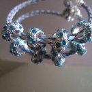 Metal Enamel rhinestone Blue Beads Big Hole Loose Beads Charm 4 pieces