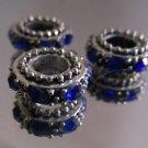 Metal Enamel rhinestone Blue Barrils Beads Big Hole Loose Beads Charm 3 pieces