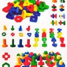 52 pcs/pack Large Size Kids Plastic Screw Matching Bloc