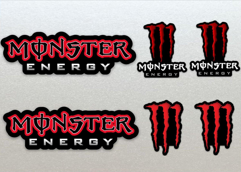 Monster Energy Red Assault Racing Bike, Car, Yamaha, Kawaskai, Moto Sticker Set X 6
