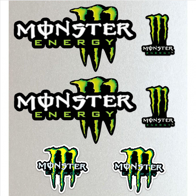 Monster Energy Callout Long (Custom) Racing Sticker Set X 6 Bike, Car, Yamaha, Kawaskai, KTM, Moto