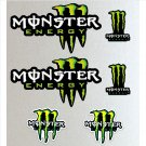 Monster Energy Callout Long (Custom) Racing Sticker Set X 6 Bike, Car, Yamaha, Kawaskai, KTM, Moto