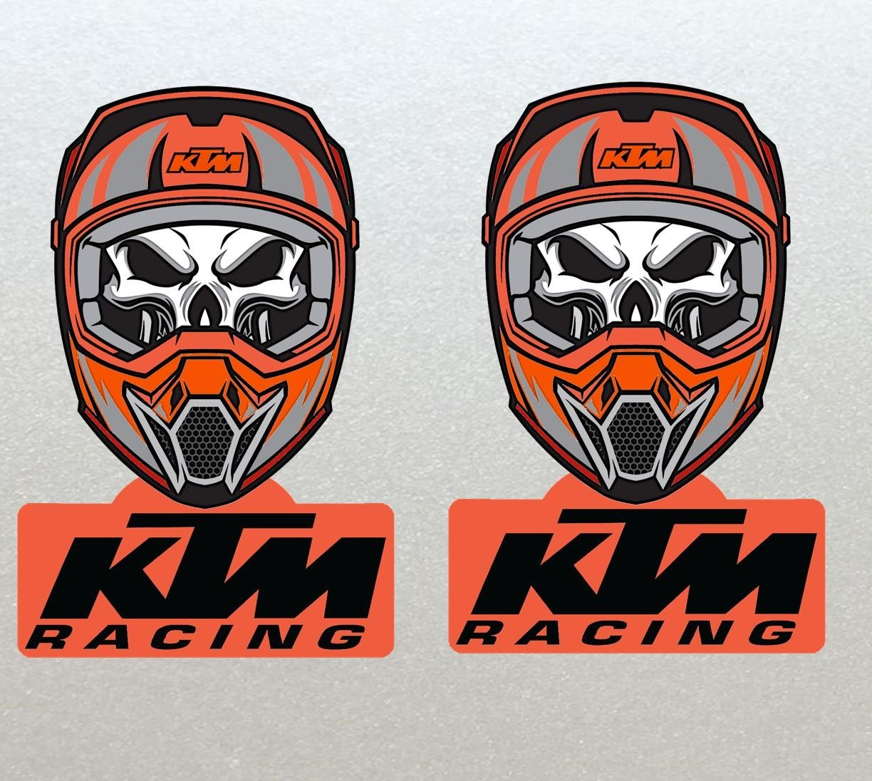 KTM Racing Skull Ghost Rider Style Helmet/Bike Stickers One off unique design x2 (Hih Quality)