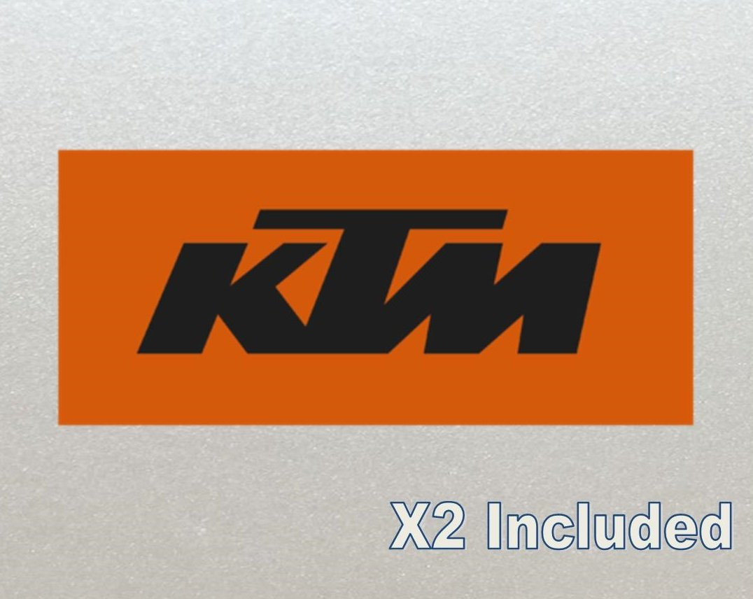 KTM Racing Stickers For Moto Motorbike Helmet Frame x2 Orange Background, (Laminated high Quality)