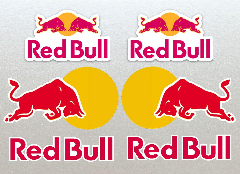 Red Bull Motor Bike, Car Moto Kart Helmet Stickers Set x 6 12cm White Background