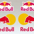 Red Bull Large 15cm Leaping Bullls & White Background Logo Motor Bike, Car Helmet Stickers Set x6