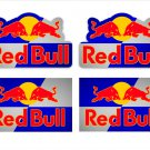 Red Bull Motor Bike, Car Moto Kart Helmet Stickers Set Multi Colour Background (9CM) x 4