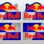 Red Bull Motor Bike, Car Moto Kart Helmet Stickers Set Multi Colour Background (9CM) x 4