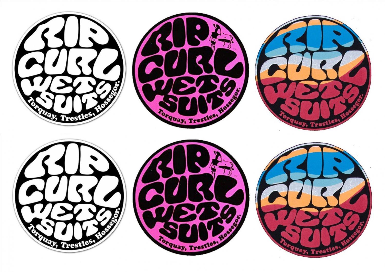 Rip Curl, Surf Board, Car, Bike, Scooter Stickers Set X 6 (Laminated)