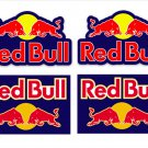 Red Bull Motor Bike, Car Moto Kart Helmet Stickers Set Blue Background (9CM) x 4