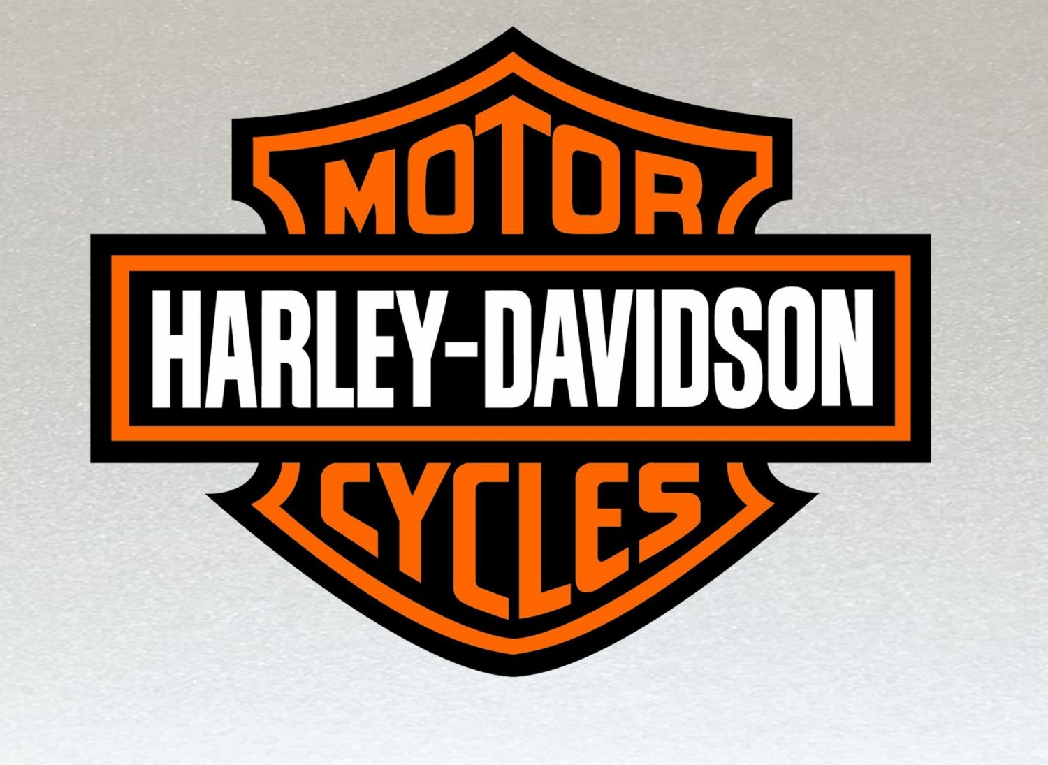 Harley Davidson Orange, Black and White Logo Stickers x 2 Included (Laminated) Water Resistant 120mm