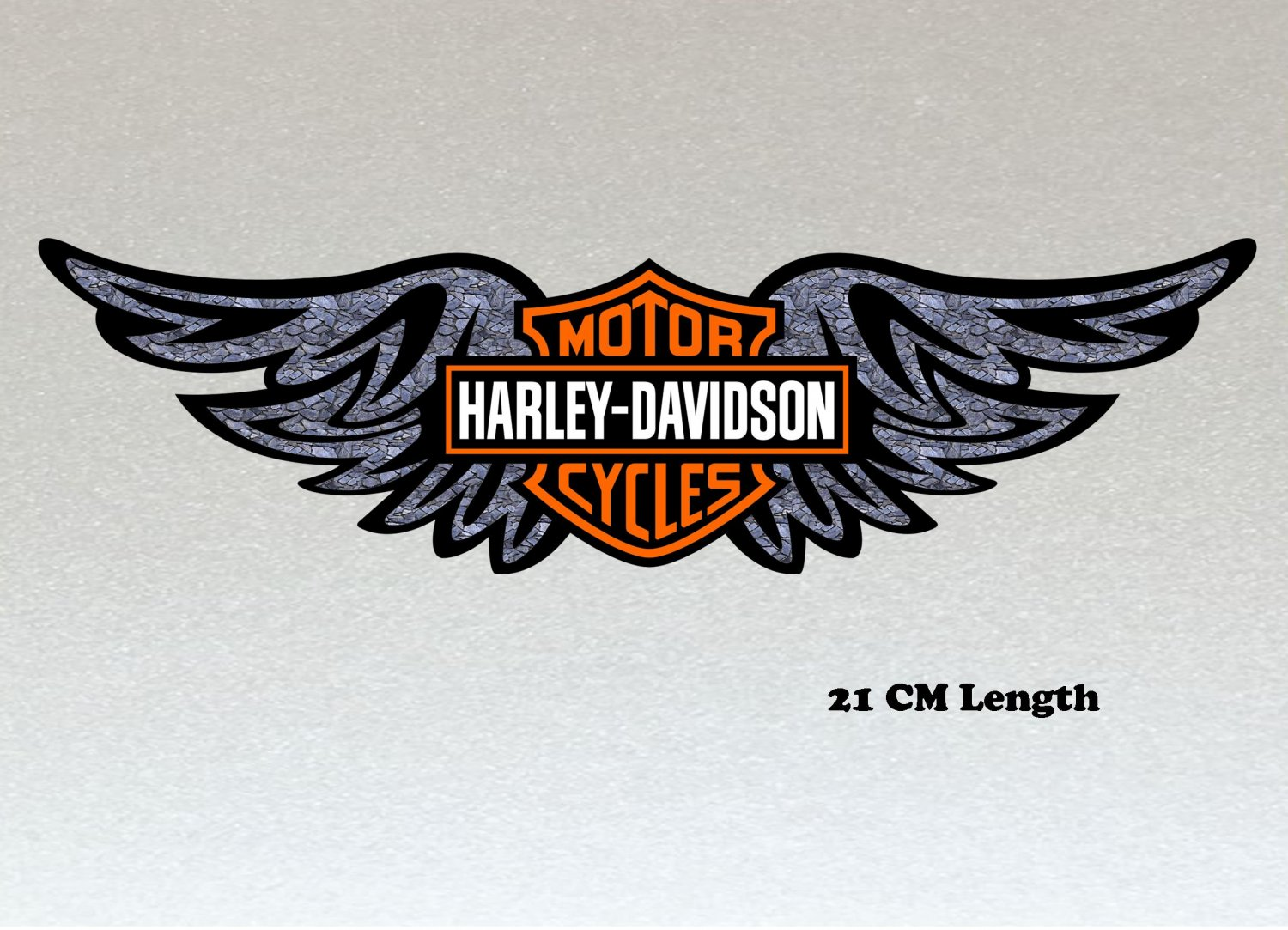 Harley Davidson Wings Large 210mm Orange, Black & White Logo Stickers x 2 Included, Laminated